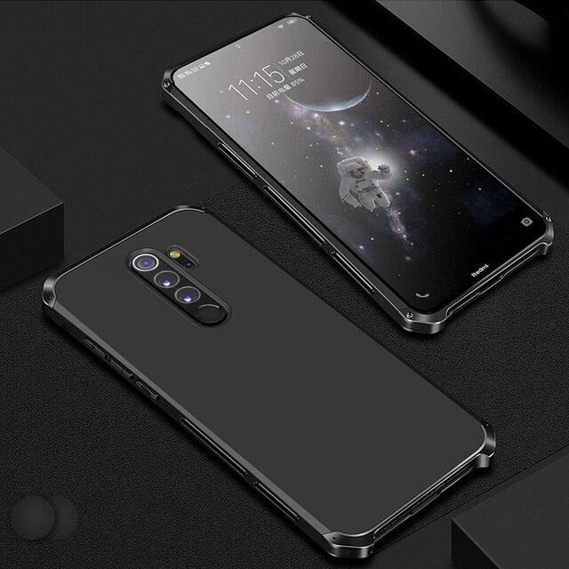 กันกระแทกโทรศัพท์กรณีสำหรับXiaomi Redmiหมายเหตุ8 Proหมายเหตุ7 Proหมายเหตุ6 5 Pro 4 Mi 10 ProอลูมิเนียมโลหะกันชนHard PCฝาครอบCoques