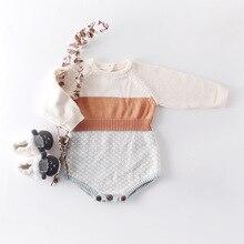 Criança Xadrez Patchwork de Crochê Camisola de Malha Macacão Nova Moda Ocidental Do Vintage Outono Macacão de Bebê Crianças Infantil 0.8kg #38