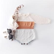 Toddler Patchwork Ekose Tığ Örme Kazak Tulum Yeni Vintage Moda Batı Sonbahar Bebek Çocuk bebek tulumu 0.8kg #38