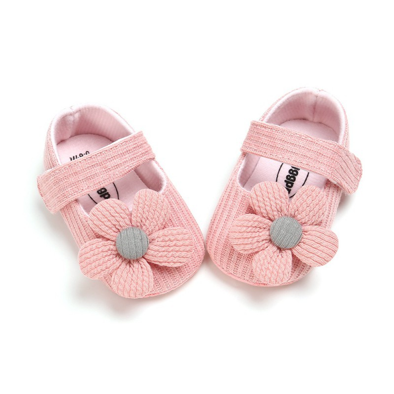 Newborn  Baby Girl Shoes Anti-Slip Casual Knitting Walking Shoes Flower Soft Soled Hook & Loop First Walkers