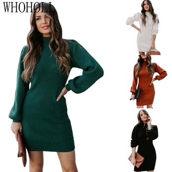 2020 Winter Turtleneck Long Sleeve Sweater Dress Women Autumn Winter Loose Tunic Knit Pullovers Sweater Casual Knitted Dresses christmas snowflake patterned tunic turtleneck sweater
