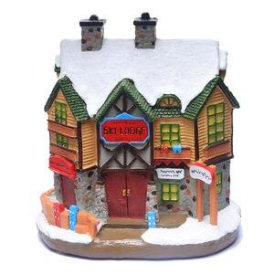 Image 3 - Casa di Villaggio di natale, Natale Inverno Sci Lodge Ornamento Illuminato Scena House
