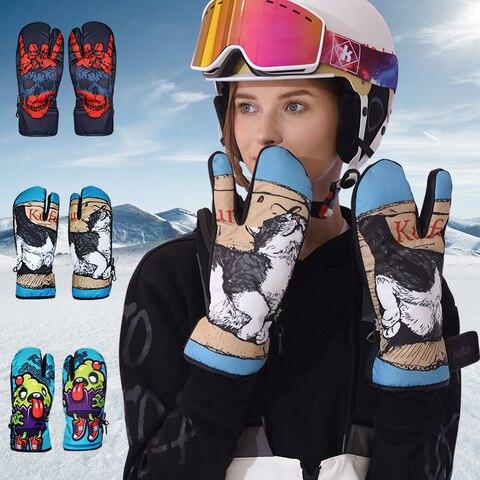 Luvas de Esqui Homem e Mulher Sensível ao Toque Frio e Quente Adulto Impermeável Acolchoado Caminhadas Equitação Tela