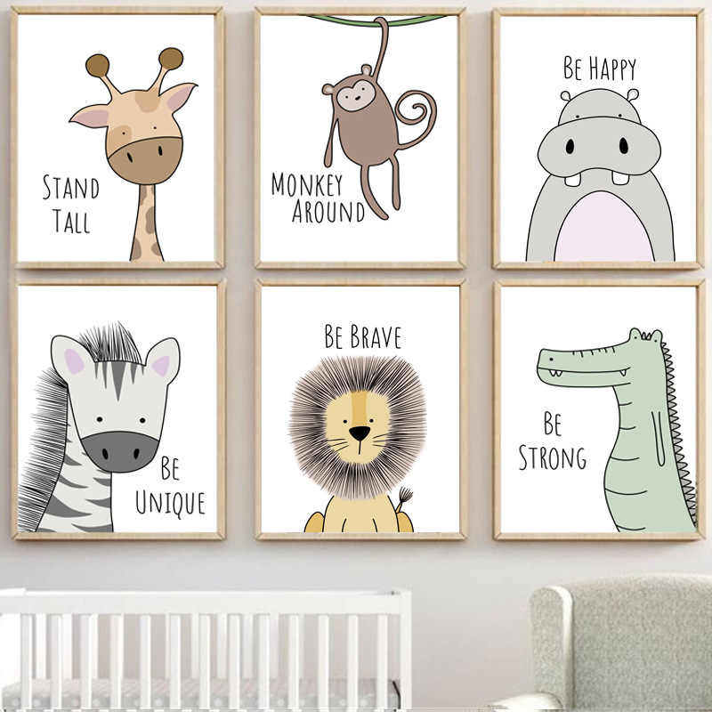 Cute Cartoon Animal Decorative Picture Be Brave Be Strong Children's Room Kindergarten Frameless Canvas Painting Wall Art Kids