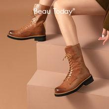 Ботинки женские до середины икры из натуральной кожи на шнуровке