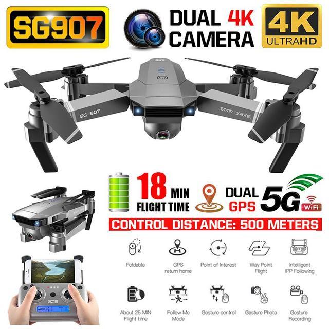 SG 907 GPS RC Drone avec 4K 1080P HD double caméra 5G Wifi RC quadrirotor optique flux positionnement pliable Mini Drone VS E520S E58