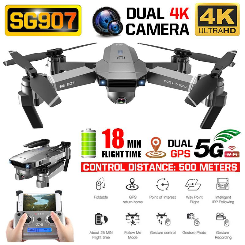 SG 907 GPS RC Drone with 4K 1080P HD Dual Camera 5G Wifi RC Quadcopter Optical Flow Positioning Foldable Mini Drone VS E520S E58