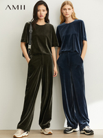 Amii minimalist, stylish velvet, fake blouse, 2019 autumn bag, straight tube, loose casual pants