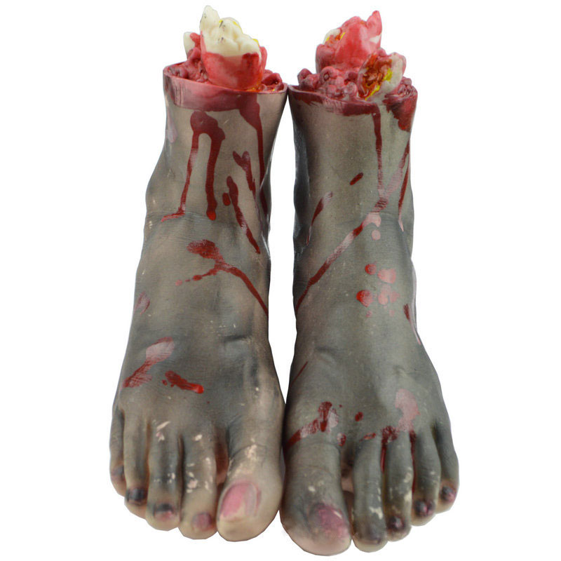 Halloween Horrible Scary Props Bloody Faked Human Hands Foot Decor
