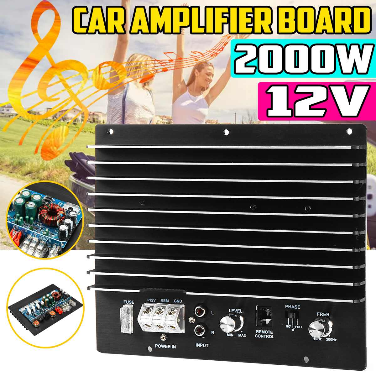AMPLIFICADOR DE POTENCIA DE Audio para coche 12V, 2000W, Subwoofer, tarjeta amplificadora de graves potente, tablero de amplificador DIY para coche, reproductor de coche