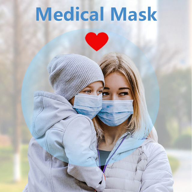 3-Layer Medical Mask Non-woven Mouth Face Mask Protective Anti-virus masks Dust flu Disposable Mask bacteria Filter mask medical