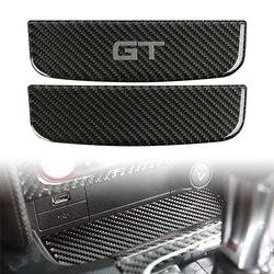 Carbon Fiber ABS Car Interior Storage Box Trim Cover For Ford Mustang 2015 2016 2017 2018 2019