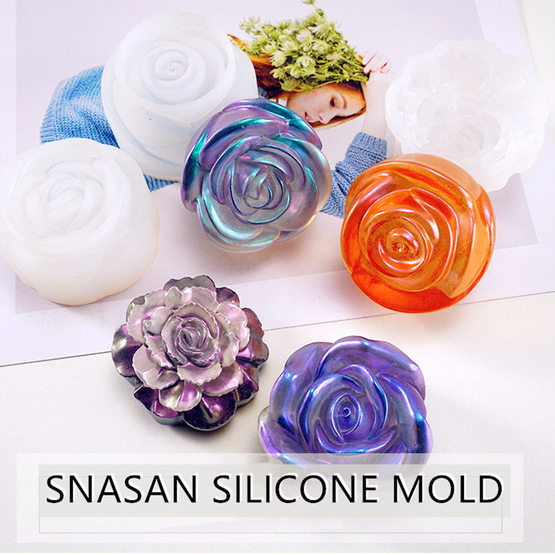 SNASAN 3D Flower Necklace Pendant Silicone Mold For Jewelry Making Resin Jewelry Tool UV Epoxy Resin Molds Decorative Craft