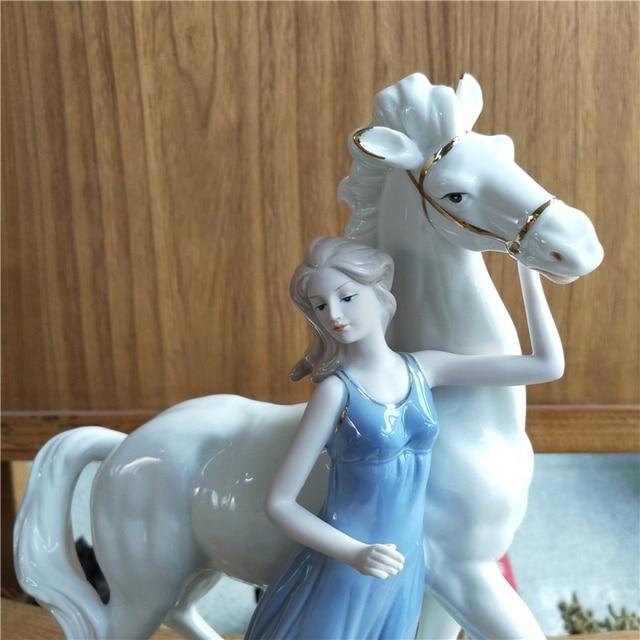Antique Porcelain Princess White Horse Ceramic Figurine 5