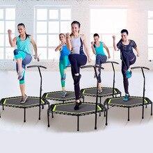 48 inç altıgen sessiz fitnes trambolini ayarlanabilir küpeşte ile kapalı spor salonu için atlama spor yetişkinler çocuklar güvenlik