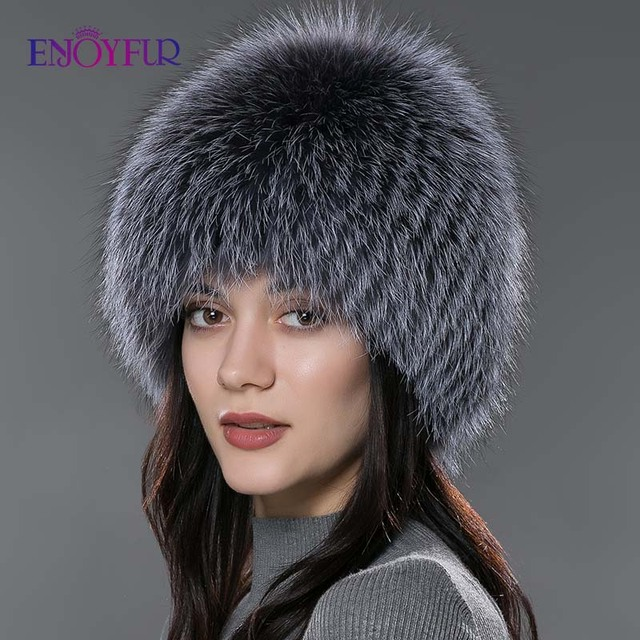 ENJOYFUR women winter fur hat genuine fox fur hats knitted silver fox fur caps female russian bomer caps