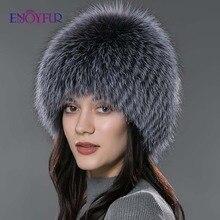 Enjoyfur Vrouwen Winter Bontmuts Echt Vossenbont Hoeden Gebreide Zilveren Vos Bont Caps Vrouwelijke Russische Bomer Caps