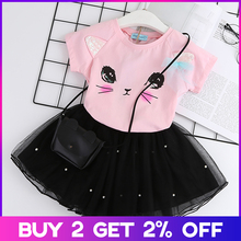 Casual Girls Dresses New Summer Kids Clothes Fashion Cartoon Cute Girl Ball Gown Dress Round Neck Cat Printed Princess