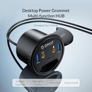 Image 2 - ORICO 데스크탑 그로멧 USB 3.0 허브 (헤드폰 마이크 포함) 포트 유형 C 허브 OTG 어댑터 분배기 (노트북 액세서리 용)
