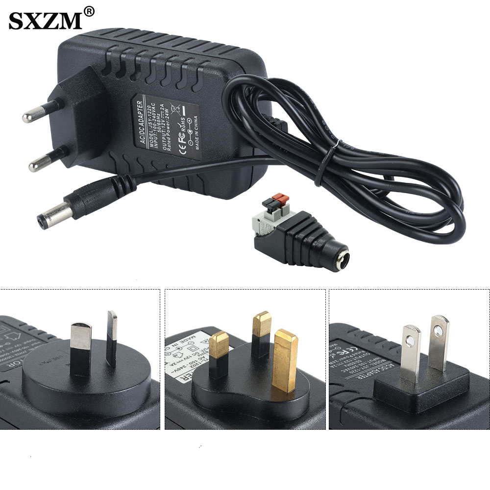 24W EU US UK AU Plug Driver Adapter AC110V 220V to DC <font><b>12V</b></font> 2A 5.5*<font><b>2.1mm</b></font> LED Power Supply with 1pcs Female Connector For LED Strip image