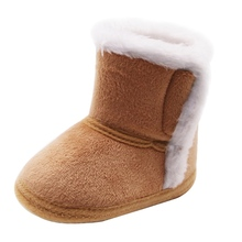Winter Baby Kids Non-slip Soft Sole Moccasin Boots Boys Girls Suede Leather Crib Shoes 0-18M cheap WEIXINBUY CN(Origin) Cotton Hook Loop Fits true to size take your normal size ANKLE Unisex Platform Snow Boots Genuine Leather