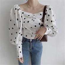 Милая Элегантная модная женская рубашка в горошек простая сплошная