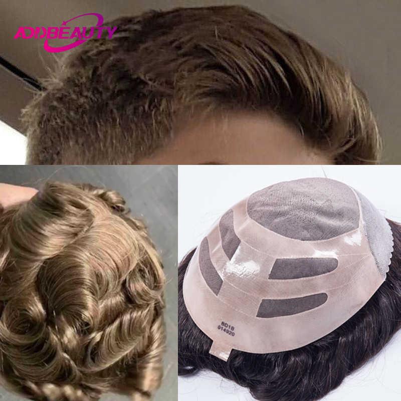 Addbeauty Licht Goud Blond Mens Toupee Pruik Vervanging Systemen Haarstukje Mono Kant Met Dunne Pu Natuurlijke Remy Indian Human Hair
