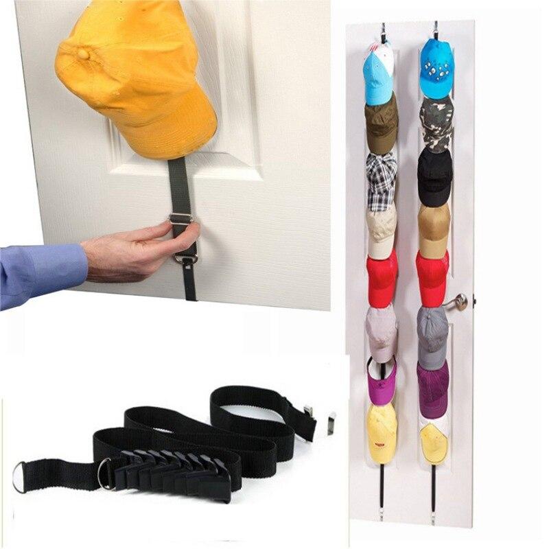 1Pcs Adjustable Vertical Storage With Door Back Storage Hanging Strip Door Cap Rack Baseball Cap Holder Organizer Closet Hanger,