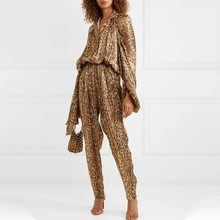 2019 Autumn Leopard Sexy 2 Piece Sets Lantern Sleeve Drawstring Blouse and Long Pants Elegant Two Piece Set Top and Pants(China)