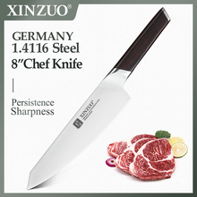 """XINZUO 8"""" Chef Knife DIN 1.4116 Stainless Steel Germany Kitchen Knives Cutting Peeler Vegetable Knife  Ebony Handle Gift Case"""