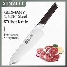 """XINZUO 8 """"سكين الطاهي DIN 1.4116 الفولاذ المقاوم للصدأ ألمانيا سكاكين المطبخ قطع مقشرة سكين الخضار الأبنوس مقبض هدية"""