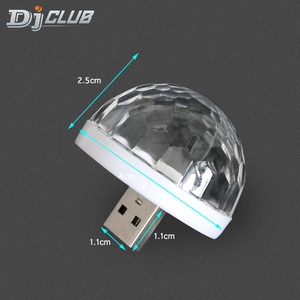 RGB Mini USB LED Party Lights Portable Sound Control Magic Ball 3W Mini Colorful DJ Magic Disco Stage Lights for Mobile