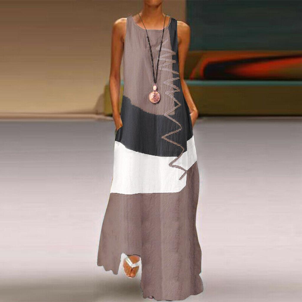 4# Women Striped Printed Dresses Plus Size Daily Sleeveless Vintage Patchwork Bohemian O Neck Maxi Dress Dress Punk Clothes