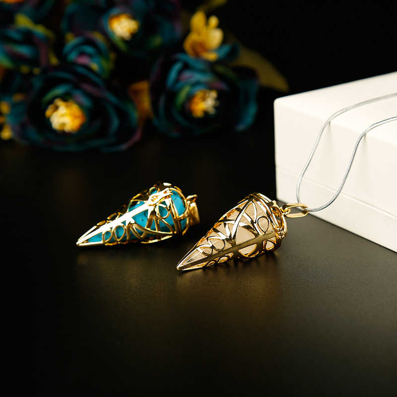 1PC זהב אופנתי טבעי אבנים קריסטל מינרלים מטוטלת מתכת קון פירמידת מטוטלת עיצוב הבית aura תכשיטים