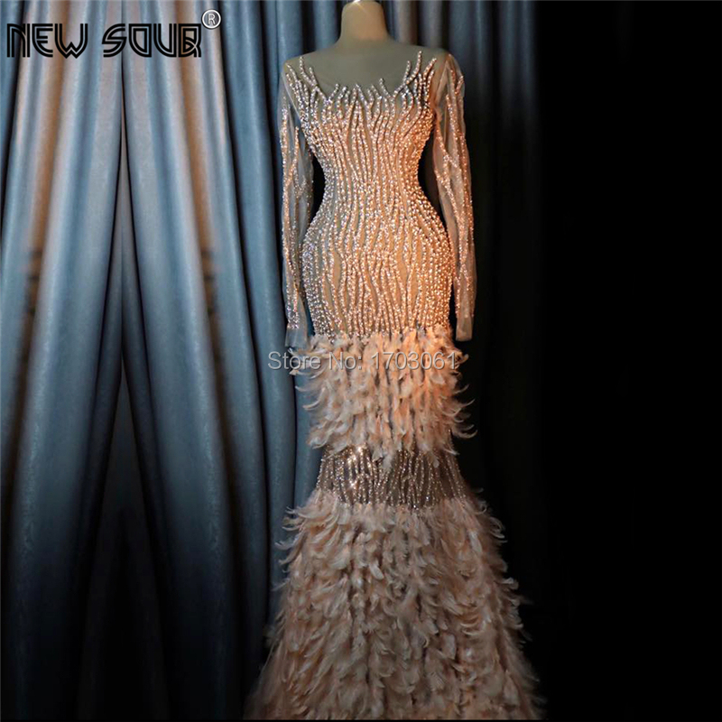 Chic Feathers Transparent Evening Party Dresses Custom Made Kaftans Islamic Beading Crystal Prom Dress Dubai Arabic Party Gowns