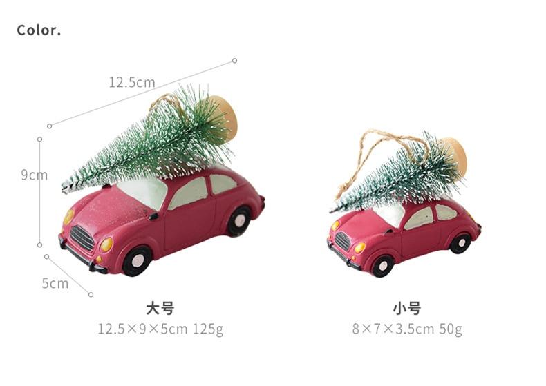 Resin American Mini Car Pull Christmas Tree Desktop Small Ornaments Christmas Decorations Pendant Xmax Ornament QW248 (1)