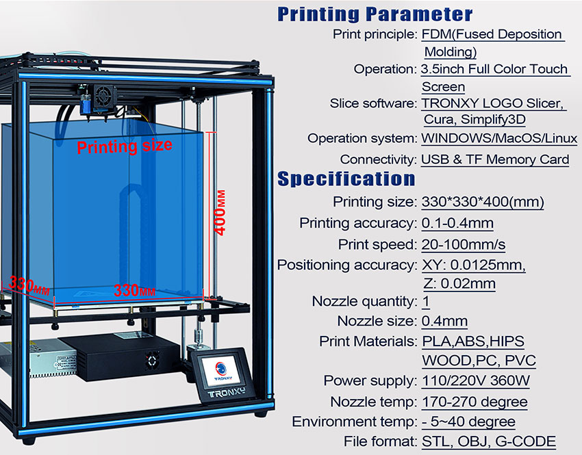 TRONXY X5SA 3D Printer Kit With Auto Levelling And Filament Sensor (X5SA) 3