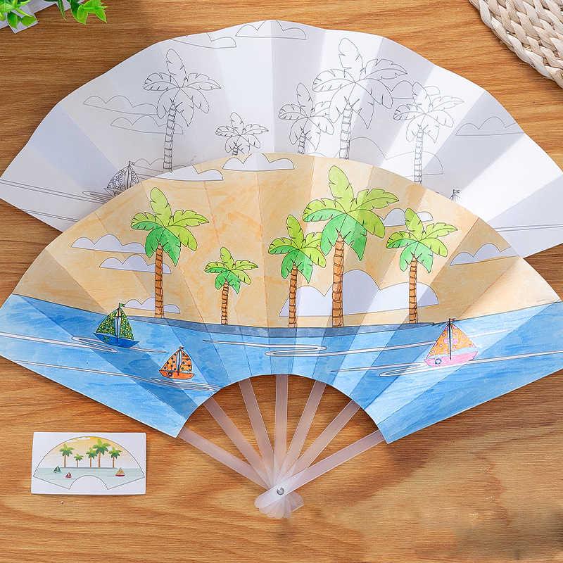 21cm peinture été ventilateur bricolage jouets pour enfants dessin animé Animal couleur Graffiti Origami Fan Art artisanat jouet créatif dessin enfants