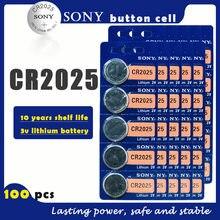 100 adet/grup SONY orijinal CR2025 düğme pil 3V lityum piller CR 2025 izlemek için uzaktan oyuncak bilgisayar hesap makinesi kontrol