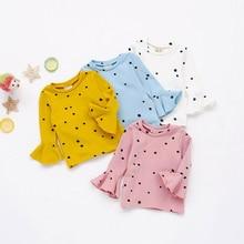 лучшая цена Spring Autumn Girls Shirts Kids White Pink Long Sleeve Dots T-shirt Baby Girl Tops T Shirt Toddler Children Clothes Gifts