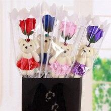 1 Uds jabón de baño perfumado oso Rosa jabón pétalo de flor con caja de regalo para San Valentín boda San Valentín Día de la Madre Día del Maestro