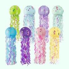 Sereia tema festa decoração diy jellyfish lanterna de papel sob o mar decoração de festa menina sereia decorações de aniversário litte sereia