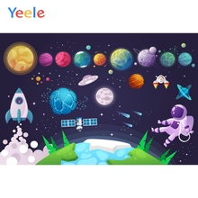 Cartoon Universe Planet Spaceship Astronaut Backdrop Newborn Baby Boy Birthday Custom Photography Background For Photo Studio