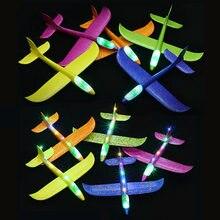 4 pçs/set 48CM Com Luz LED 6 Cor Lance Mão Voar Planador Avião De Espuma Crianças Modelo Brinquedos Avião Planador Voar Livre