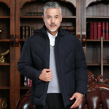 Elderly Man Winter Puffer Hooded Jacket Black Army Green Quilted Basic Coat With Hood Puff Parkas Male Padded Outwear Plus Size army green loose fit hooded outwear