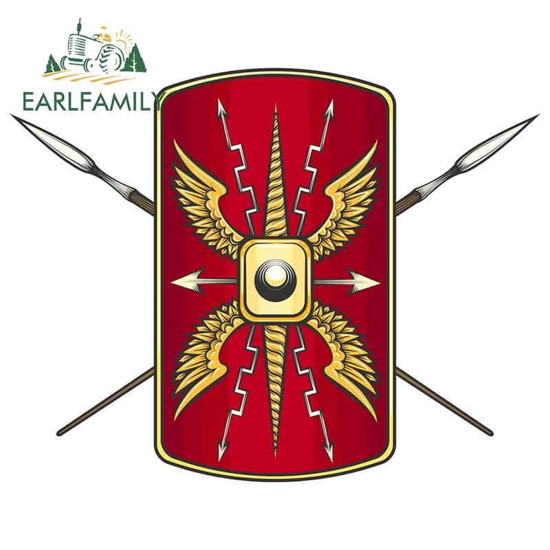 EARLFAMILY 13cm X 10.2cm For Roman Empire Shield Crossed Spears Motorcycle Car Stickers Waterproof Decal Scratch-proof Decor
