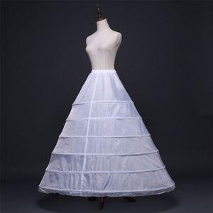Image 4 - Womens Full Length White Crinoline Petticoat A Line 6 Hoops Skirt Slips Long Underskirt for Wedding Bridal Dress Ball Gown