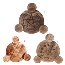 Candle-Holder Wooden Altar-Plate Divination Magic-Candlestick Astrology Pentacle Table-Energy-Ornaments