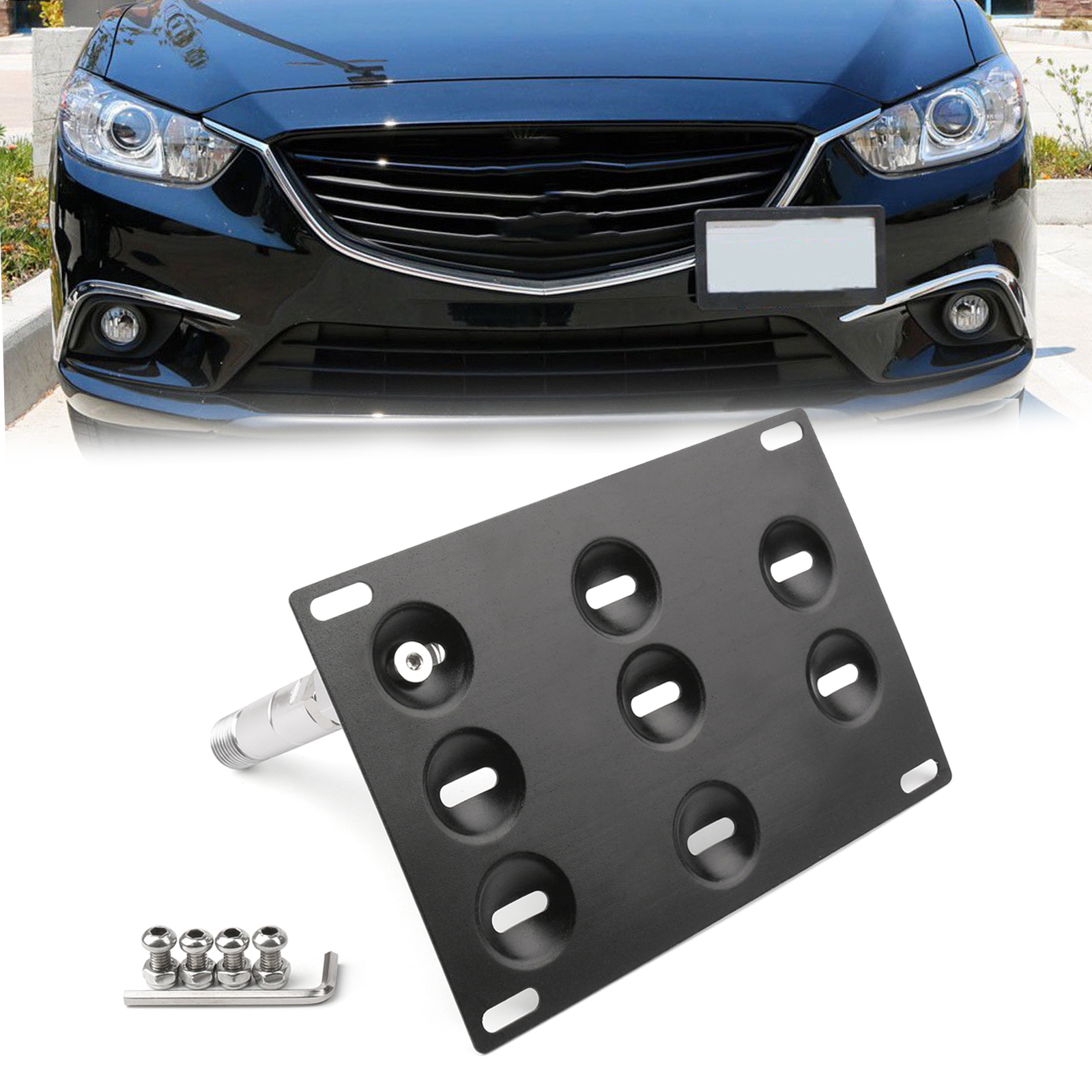 Areyourshop Bumper Tow Hook License Plate Mount Bracket Holder For <font><b>Mazda</b></font> 3 <font><b>Mazda</b></font> 6 <font><b>CX5</b></font> MX5 License Plate Holder Car Parts image