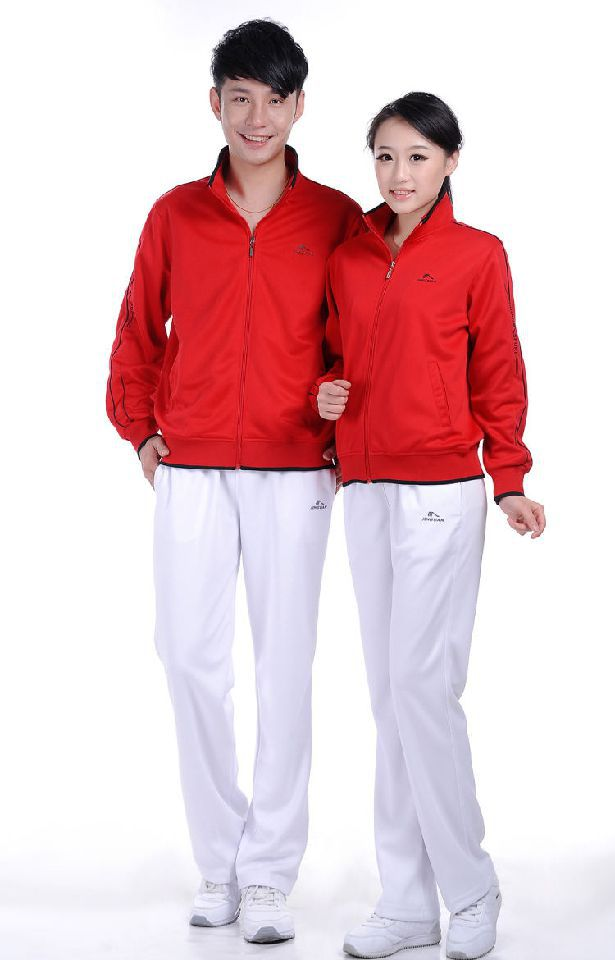 Autumn Jin Crown COUPLE'S Long-sleeved Red Trousers Sports Clothing Set Men And Women Square Dance Fitness Exercise Groups Cloth